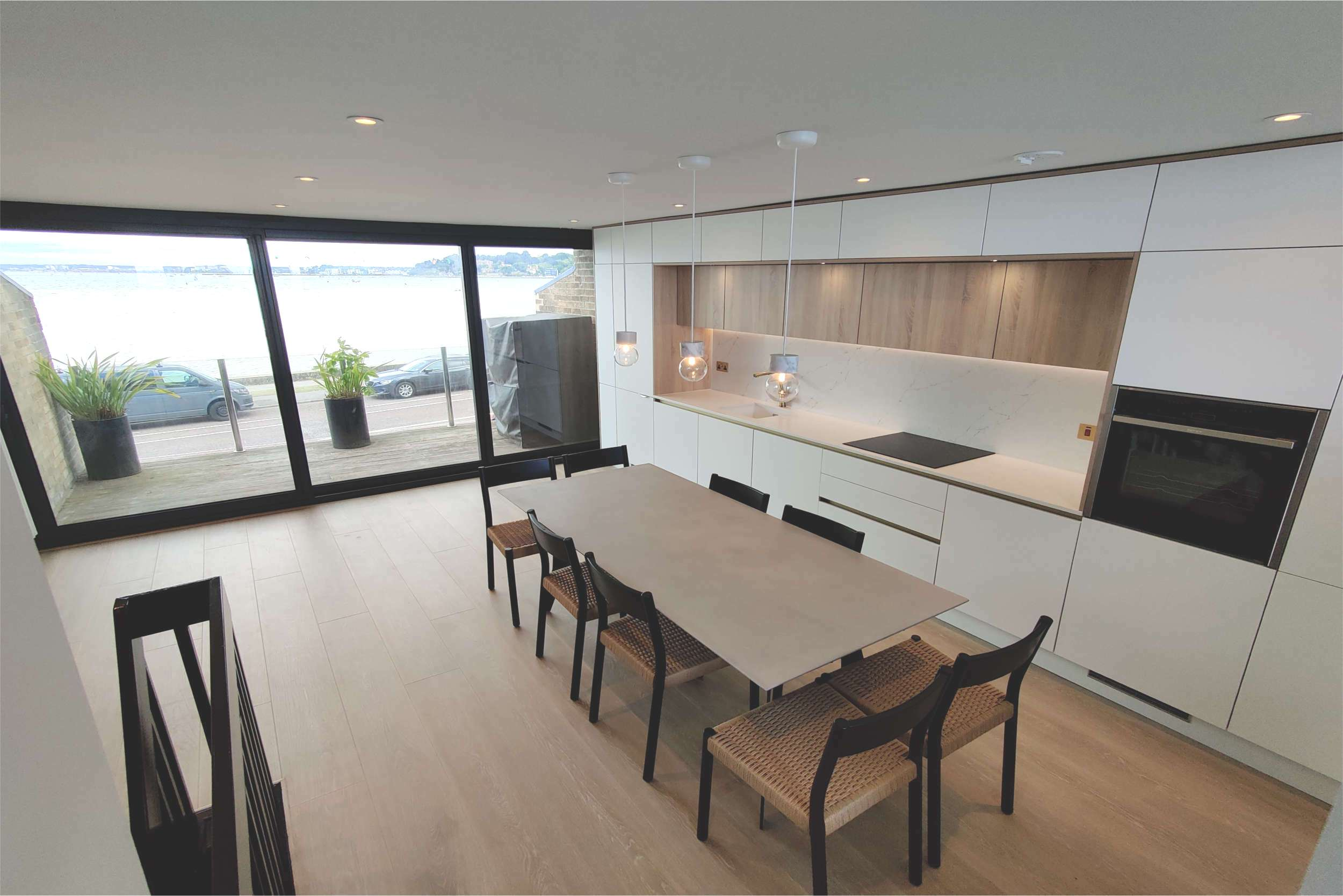 Kitchen with harbour views